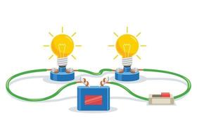 Simple Electric Circuit Experiment For Children Education vector