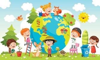 Children Having Fun With Planet Earth vector