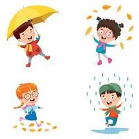 Children Using Umbrella Under The Rain vector