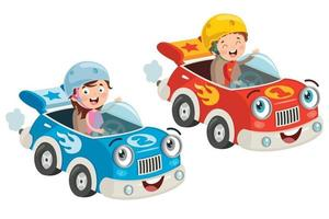 Child Racing With Funny Car vector