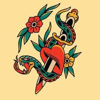 snake wrapped around sword and red flowers vector