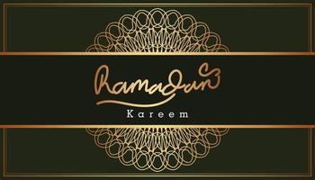 Beautiful gold Ramadan Kareem text and ornamental pattern design background. Vector Illustration