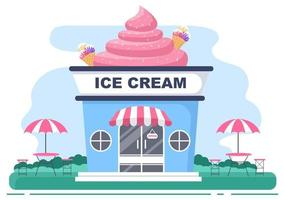Ice Cream Shop Illustration With Open Board, Tree, And Building Store Exterior. Flat Design Concept vector