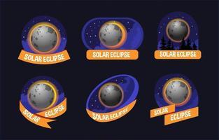 Night Lights Solar Eclipse Badge vector