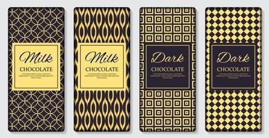 Plantilla de diseño de barra de chocolate oscuro y con leche. Ilustración de vector realista 3d