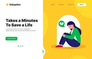 Suicide Prevention Activism Landing Page vector