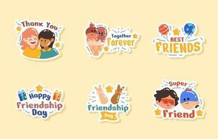 Friendship Day Appreciation Sticker Set vector