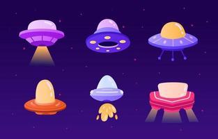 Space UFO Icon Set vector
