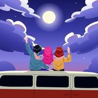 Friends Sit on Car Roof Enjoying Full Moon vector