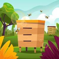 colmena de abejas vector