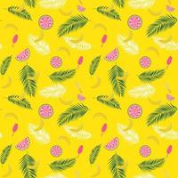 Beautifil Summer Seamless Pattern Background with Palm Tree Leaf Silhouette, Watermelon, Banana and Ice Cream. Vector Illustration