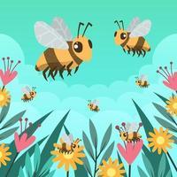 Honey Bee Background Concept vector