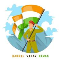 Soldier Holding Flag on Hill vector