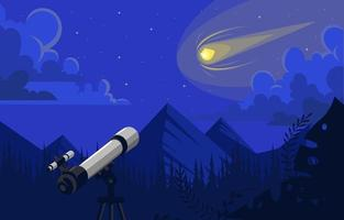 See Meteor Using Telescope in the Night Sky vector
