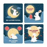Fluffy White Rabbit by Mid Autumn Night Cards vector