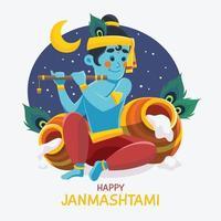 Happy Janmashtami Festival of India vector