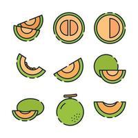 colección de iconos de melón vector