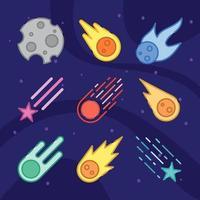 colección de icono de meteorito vector