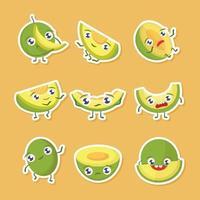 lindo melón verde pegatinas vector