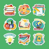 Literacy Day Stickers vector