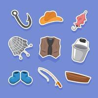 Fishing Equipment Stickers vector