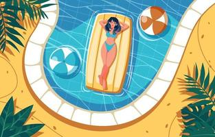 Girl Relaxing On The Pool vector