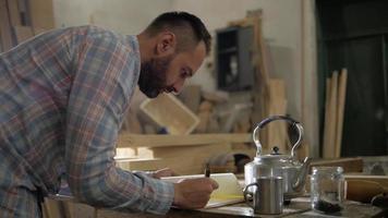 carpinteiro faz cálculos à mesa video