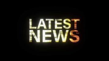 LATEST NEWS gold light animation loop glitch text video
