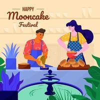 Couple Preparing Mooncake In The Kitchen Concept vector