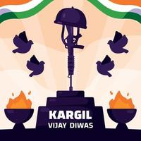 Kargil Vijay Diwas Greeting Concept vector