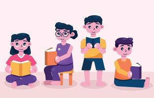 People Celebrating Literacy Day by Reading Book vector