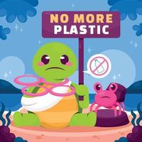 Sea Animal Holding No More Plastic Sign vector