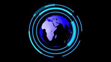 globo hud cyber technology background video