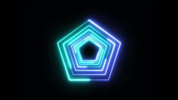 blauwe vijfhoek technologie looping 3d kamer achtergrond video