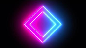 Shaking neon square technology background video