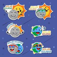 Solar Eclipse Cartoon Stikers vector