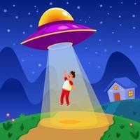 UFO Abducting People vector