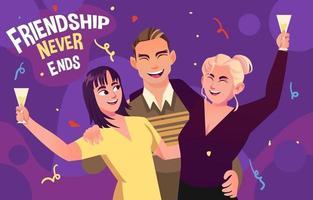 la amistad nunca termina la fiesta del día del agradecimiento vector