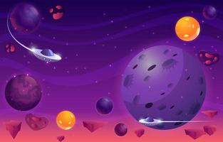 Planets And UFO In Galaxy vector