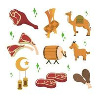 Eid Adha Flat Icon Set vector