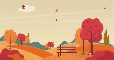 Animation of autumn landscape, 4K video, falling leaves video