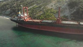 Cargo Ship aground at sea video