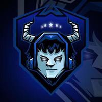 diseño deportivo de mascota demonio. Ilustración de vector de mascota diablo. diseño de mascota malvada, diseño de emblema para el equipo de deportes electrónicos. ilustración vectorial.