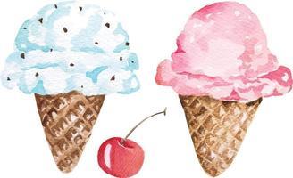 Ice cream watercolor 1 vector