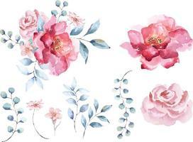 Elegant watercolor rose composition 7 vector