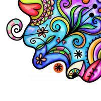 Watercolor Folk Art Page Border vector