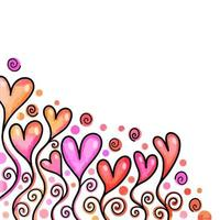 Watercolor Love Heart Border Decor vector