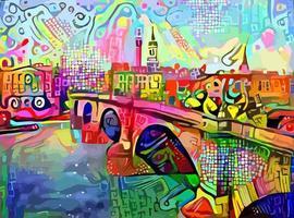 Abstract Impressionist London Bridge Painting vector
