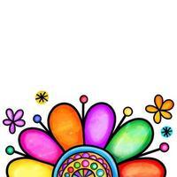 Rainbow Daisy Flower Border vector