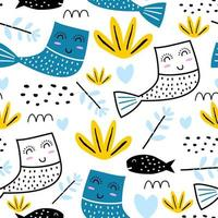 seamless pattern with a colorful cartoon cat mermaid. Funny cat mermaid swimming in the sea. Pattern for textiles, fabrics, clothes, backpack, wrapping paper, web, children vector